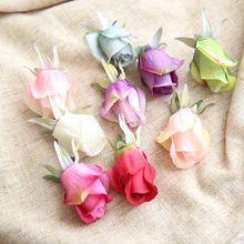 10PCS/Lot 4.5CM Artificial Silk Rose bud Flowers Heads Simulation Buds Home Decor Wedding DIY Decoration rose head