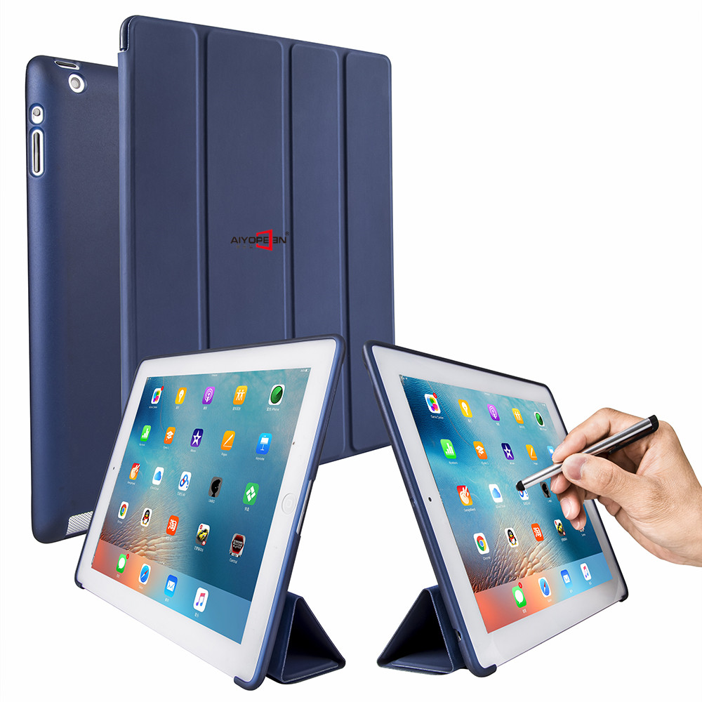 For iPad 2 3 4 case aiyopeen 4-fold pu leather magnet auto sleep with hard pc matte translucent back cover 2 in 1 +gift датчик lifan auto lifan 2