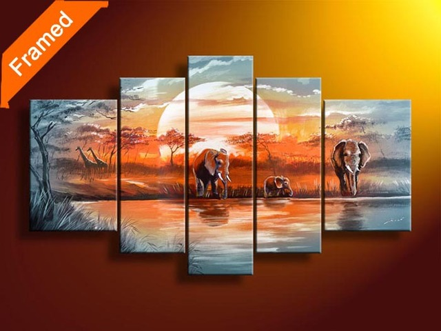 African style oil painting five panels gallery wrapped ready to hang modern abstract landscape oil paintings for wall