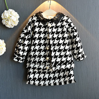 Fashion Houndstooth Clothing Sets for Baby Girl Clothes Autumn New Kids Coat Cardigan+Skirt 2pcs Girl Set Girls Boutique Outfits