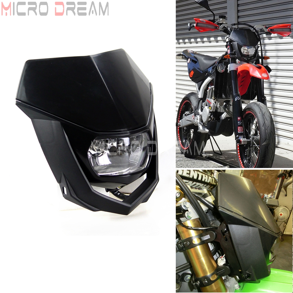 Motocross Dirt Bike Offroad Enduro H4 Headlight Universal 12V 35w Motorcycle Headlamp Mask For Honda Yamaha Suzuki CRF WRF DR YZ