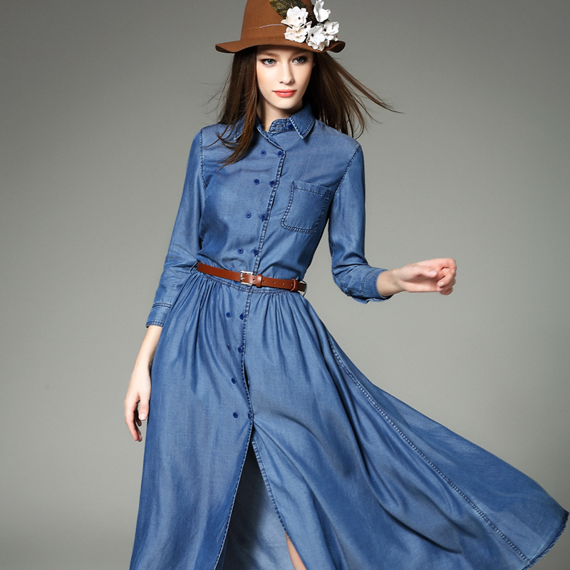 Long denim dresses and skirts - Lace dress store