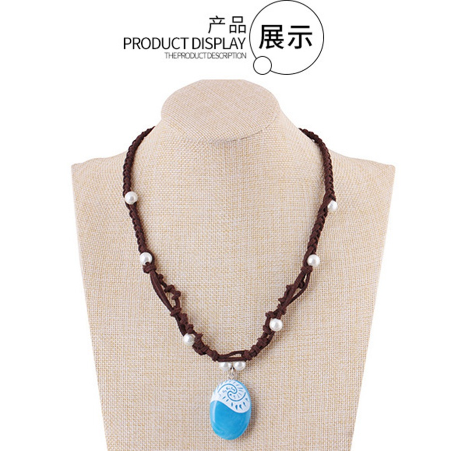 Costume Props Moana Ocean Romance Rope Chain Necklaces Blue Stone Necklaces Princess Necklace Key Ring Movie Figures Action Toys Gift