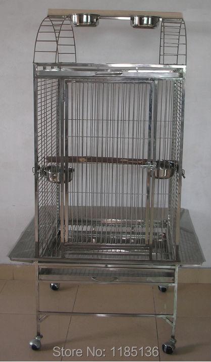 304 Высококачественная Нержавеющая Сталь Клетке Попугай Играть Верхняя Клетка Для Птиц Попугаев Ара 18*18*59 ''ST62P