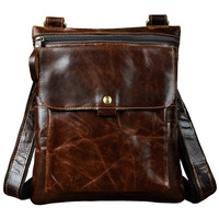 Quality Real Leather Male Fashion Messenger bag Casual Design Cross-body One Shoulder bag Satchel School Book Bag 8303