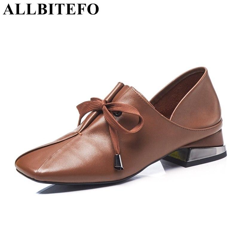 ALLBITEFO EURO formato 34 43 di nuovo di marca delle donne del cuoio genuino scarpe tacchi ragazze di moda punta quadrata scarpe tacco basso donna scarpe da lavoro-in Pumps da donna da Scarpe su  Gruppo 2
