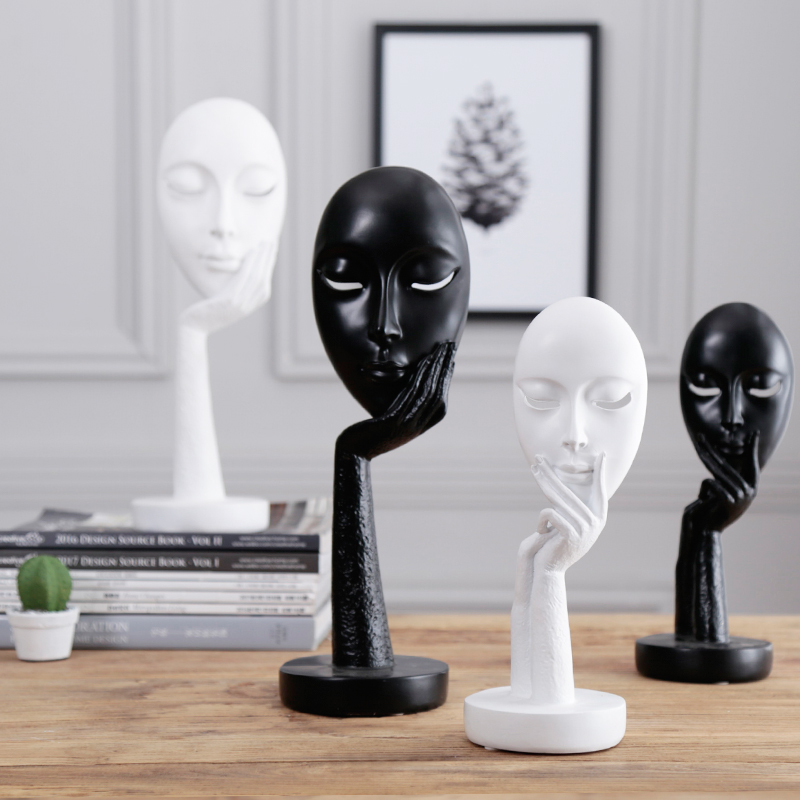 Articles d'ameublement femmes visage Statues pour la décoration décoration de la maison accessoires personnage Sculpture abstraite résine artisanat