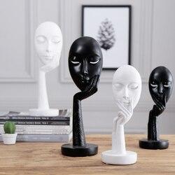 Artigos de mobiliário mulher rosto estátuas para decoração de casa acessórios de decoração personagem escultura abstrativa resina artesanato