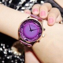 Moda Mujeres de la Marca de Relojes de Lujo de Las Señoras Vestido de Relojes Correa de Cuero Genuino Femenino Lleno de Diamantes de Gran Dial Dress Relojes Relogio