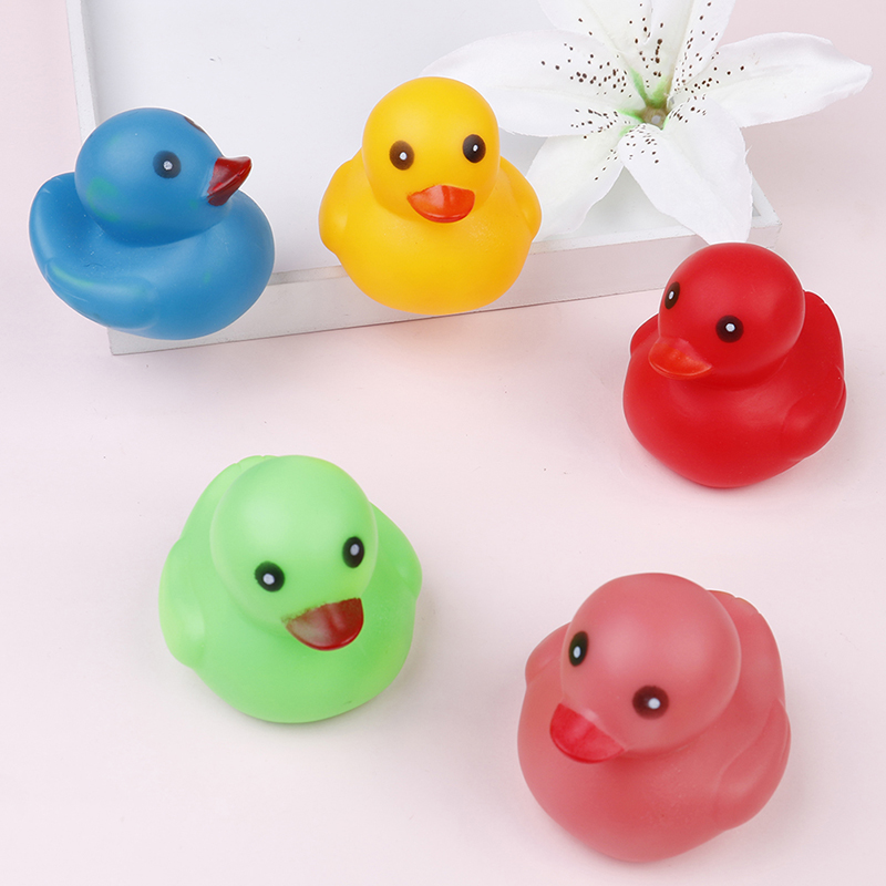 5pcs Kawaii Mini Colorful Rubber Float Squeaky Sound Duck