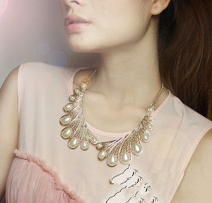Big Sale elegant gold false collar necklace vintage pearl ...