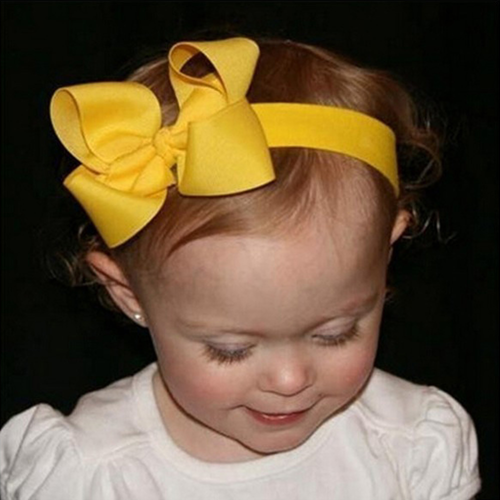 2 Pcs/lot Solid Grosgrain Ribbon Headbands With Sweet Bow For Kids Girl Head band Hair Accessories 10pcs sweet diy boutique bow headbands elastic head band children girl hair accessories headwear wholesale