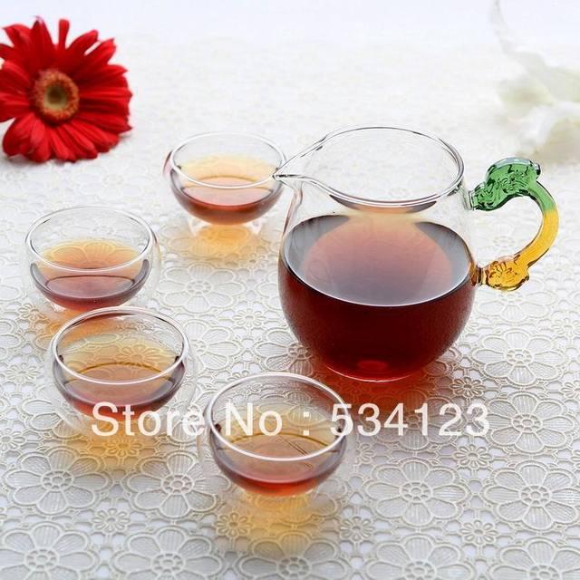Chinse teapot set, transparent  heat resistant  50ml flower tea cups + teapot / office teapot set /black tea free shipping