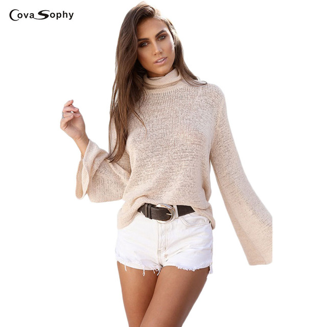 Covasophy Women Summer 2017 Fashion Blouses Long Sleeve Solid Colors Hollow Out Turtleneck Batwing Sleeve Tops