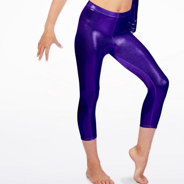 194a7b201cde7b Girls Dance Purple Capri Leggings Basic Metallic Ballet Jazz New Shiny Pants  Stage Show