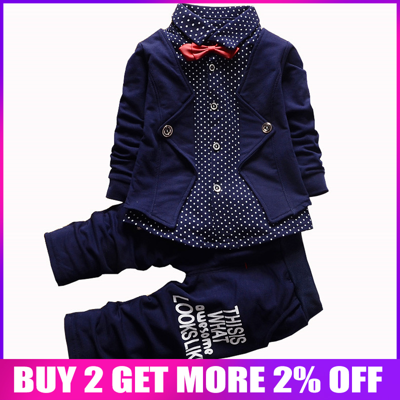 Spring autumn children clothing set 2016 new fashion baby boys tide shirt fake three-pieces clothes suit kids boys outfits suit Одежда