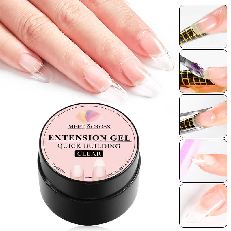 8 Ml Snel Building Poly Nail Gel Roze Naakt Crystal Jelly Builder Uv Gel Vinger Extension Nail Art Kristal Uv hars Gel Tips