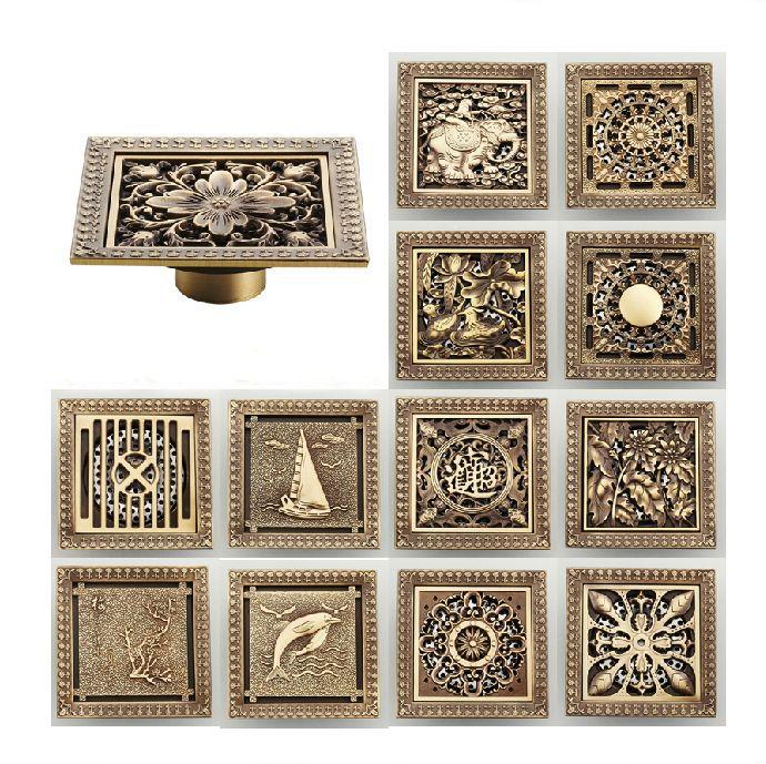 Delightful Floor Drains 12 12cm Antique Bronze Finish Fashion Design Euro Square Floor  Drain Shower Drain Bathroom
