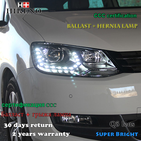 Hireno Headlamp for Volkswagen Sharan 2012-2016 Headlight Assembly LED DRL Angel Lens Double Beam HID Xenon 2pcs hireno headlamp for 2009 15 volkswagen scirocco headlight assembly led drl angel lens double beam hid xenon 2pcs