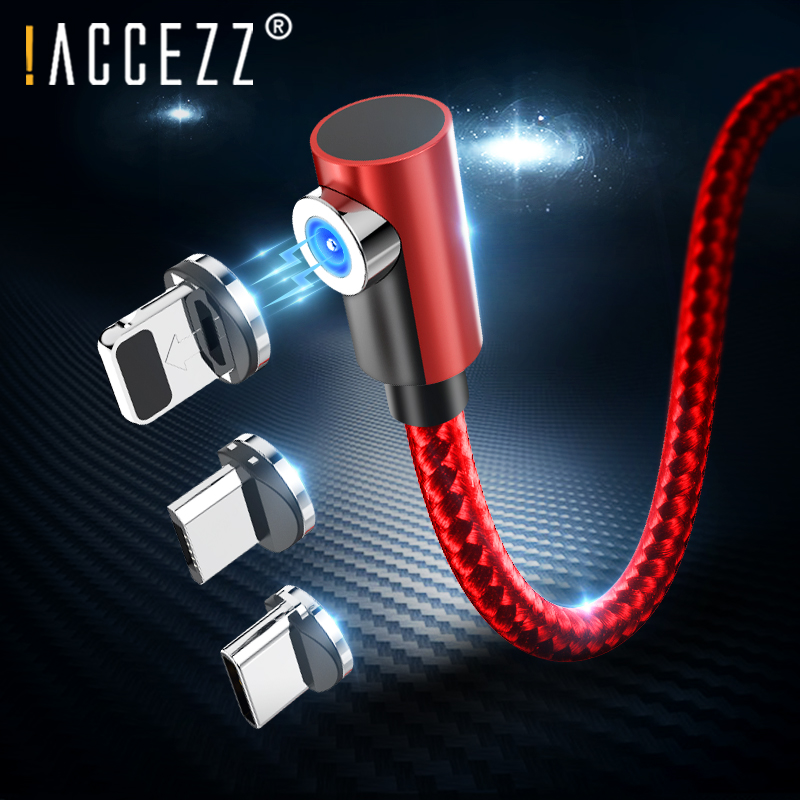 !ACCEZZ Magnetic Charging Cable Lighting For iPhone X XR 7 XS Plus Samsung S6 S7 Huawei Type-C Micro USB Magnet Charge Cables 2M