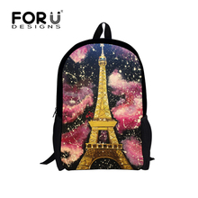 Designer 16 zoll Kinder Paris Eiffelturm Druck Rucksäcke Vintage Leinwand kinder Schultasche für Mädchen Frauen Rucksack Mochila