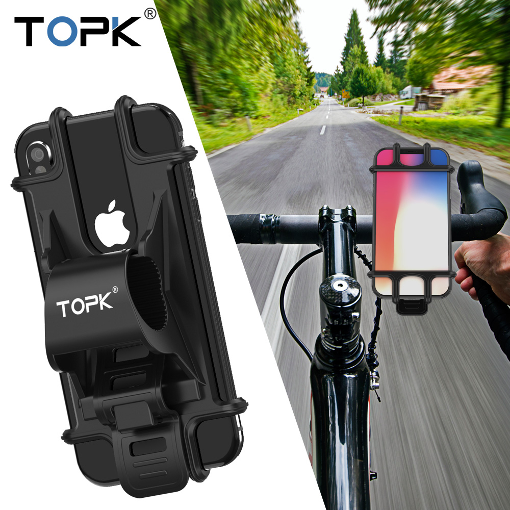 TOPK Bike Phone Holder For IPhone Xs Max Xr 8 7 Universal Adjustable Silicone Bicycle Handlebar Stand For Samsung Xiaomi Huawei