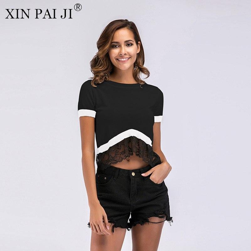 Xin Pai Ji 2017 Fashion Women Summer Dress Ruffle Sleeve Casual Knit O-neck Black Army Green Short Sleeve Mini Dress Women's Clothing