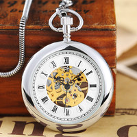 Vintage Smooth Hand Wind Mechanical Pocket Watch Men Women Stainless Steel Fob Clock Chain Pendant Steampunk Silver Gold