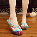 Phase Simei Old Beijing Embroidered Women Shoes Mary Jane Flat Heel Denim Chinese Style Casual Loafers Plus Shoes Woman slippers