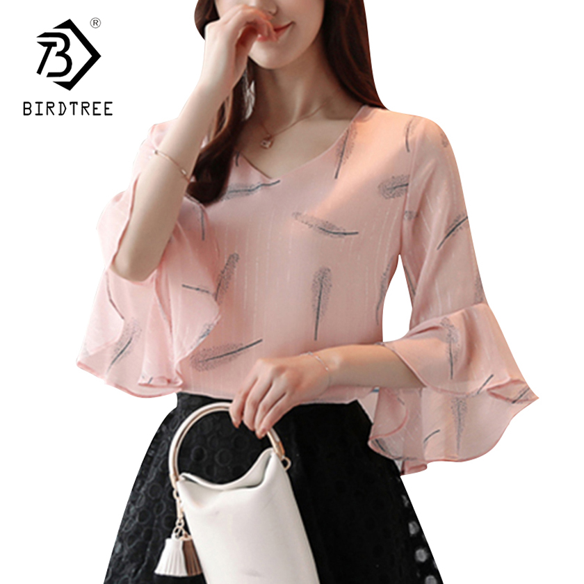 New Arrivals Casual Tops 2018 Women's   Blouses  &  Shirt   Short Sleeve Tops 3/4 Flare Sleeve   Blouses   &   Shirts   Soft   Shirts   Hot T84309L