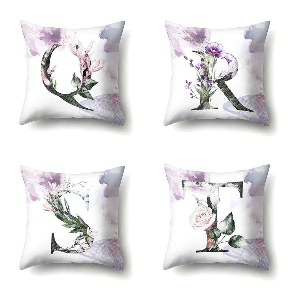 e Nordic Violet Letters Cushion Cover Printed Flowers Throw Pillow Covers Decorative Purple Farmhouse Decor Plants Home Decoration