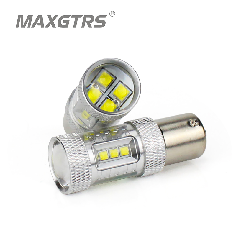 2x High Power Amber PY21W LED CREE Chip S25 1156 BAU15S DRL 80W LED Bulbs For Front Turn Signal Light Daytime Running Lights