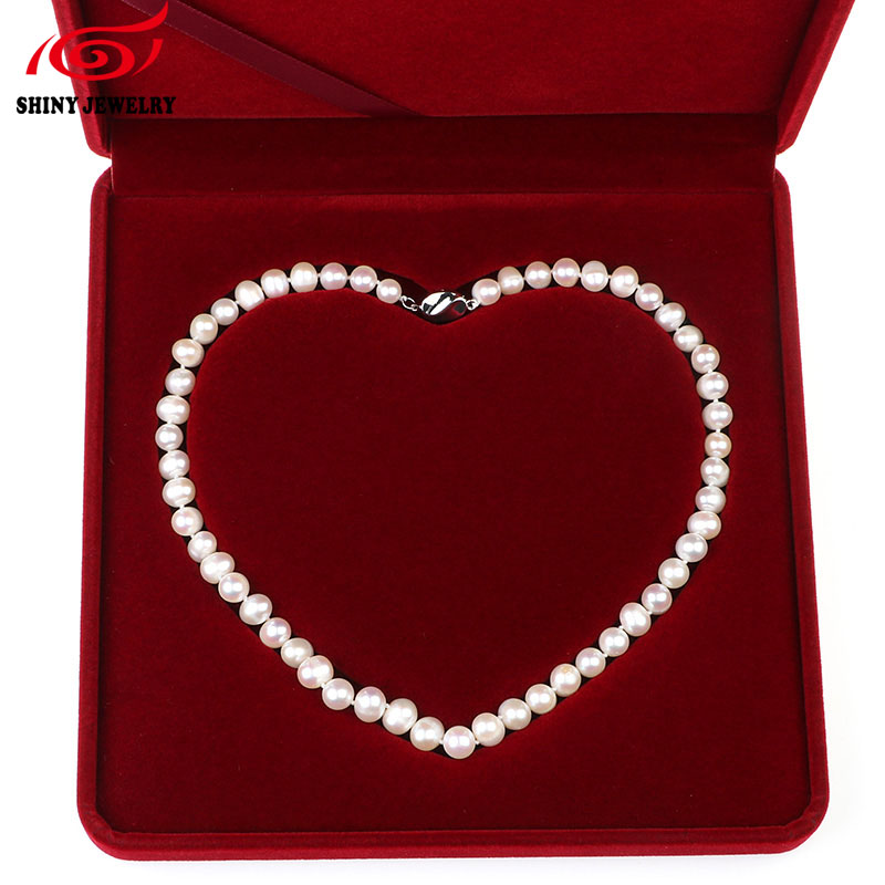 Shiny Gem Real Freshwater Round Pearl Necklace 925 Sterling Silver Buckle Genuine Natural White Pearl Choker Necklaces For Women