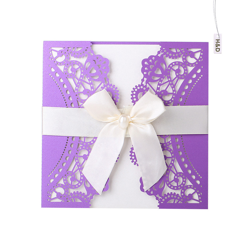 60 Kit Purple Laser Cut Printable Wedding Invitation Cards Lace Butterfly  Bow Party Souvenirs Wedding Favor