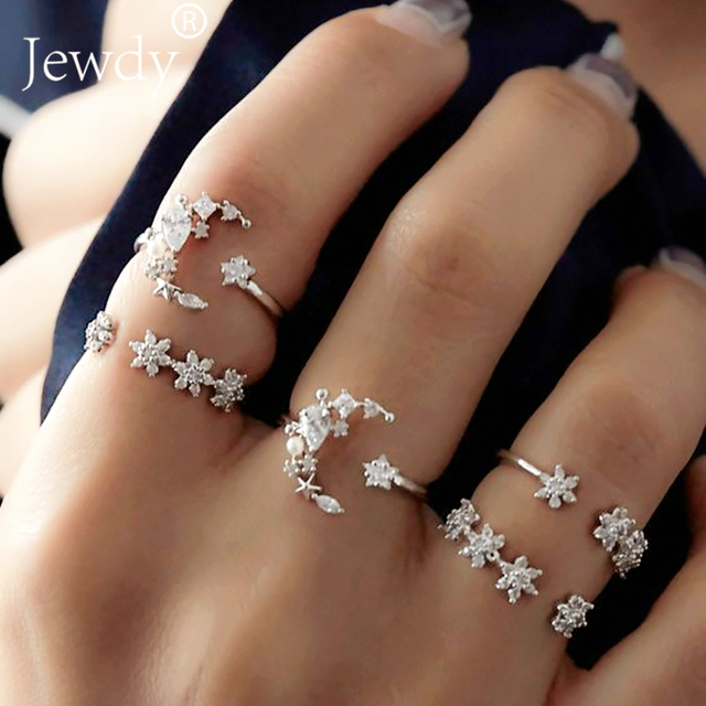 5Pcs/set Moon Star Crystal Rings for Women Vintage Wedding Knuckle Boho Flower R