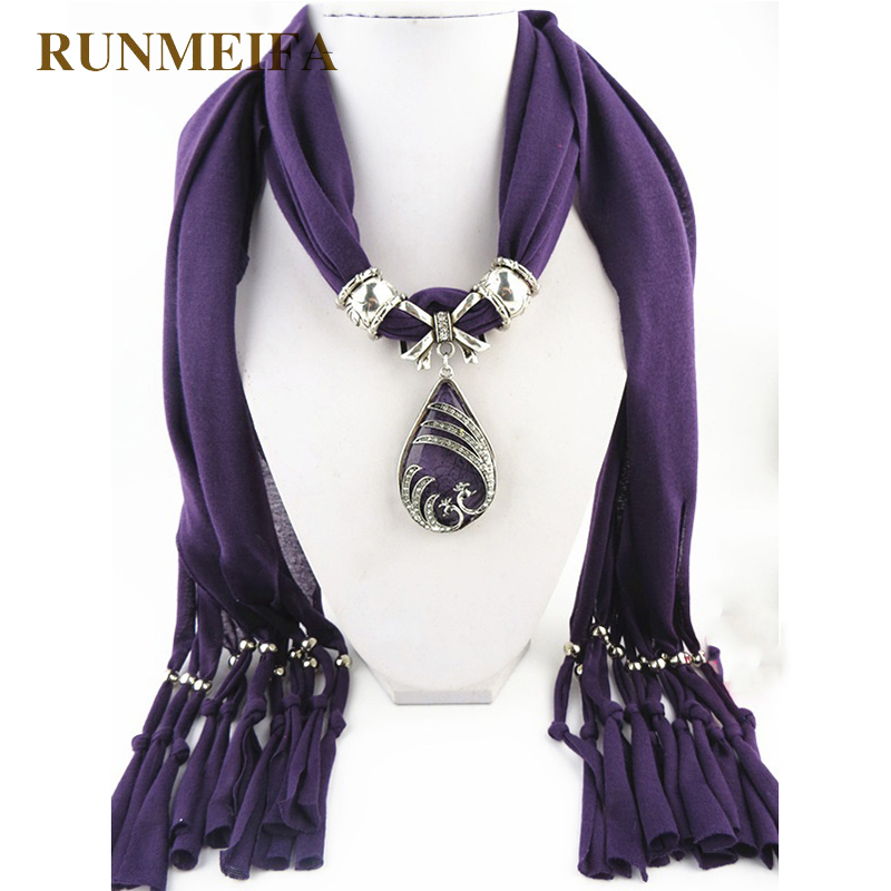 [RUNMEIFA] Fashion Jewelry Crochet Scarf Woman With Bead High Quality Silk Scarf Classic Design Solid Female Shawl Pendant Scarf