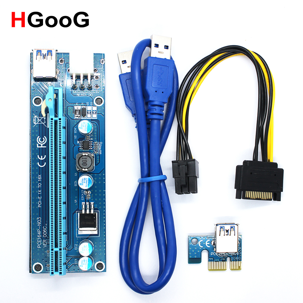 006C PCIE PCI-E PCI Express Riser Cable 1x to 16x USB3.0 Data SATA to 6Pin IDE Molex Power Supply for BTC Miner Machine