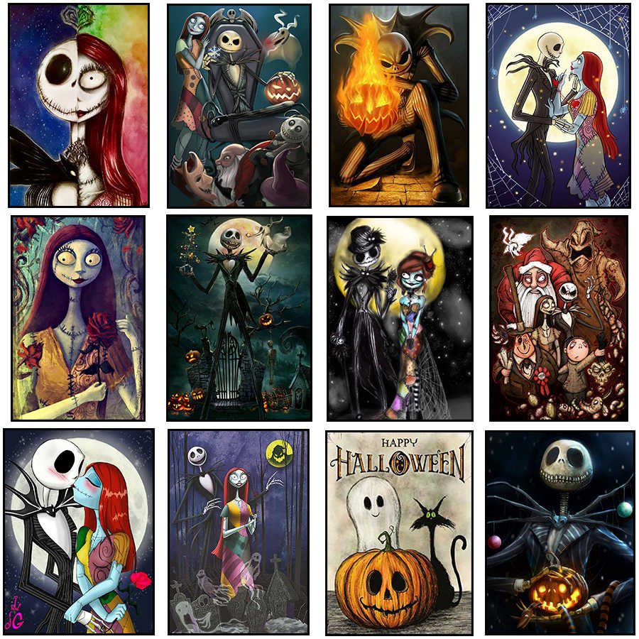 DIY 5d Diamond Painting Nightmare Before Christmas Full Square / Round Drill Crystal Mosaic Picture Halloween Diamond Embroidery