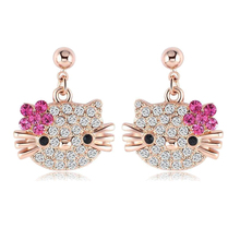 Lovely Kitty Stud Earring for Girls Rose Gold Plate Austrian Crystal Cat Flower Earings With SWA Elements Brinco(China)