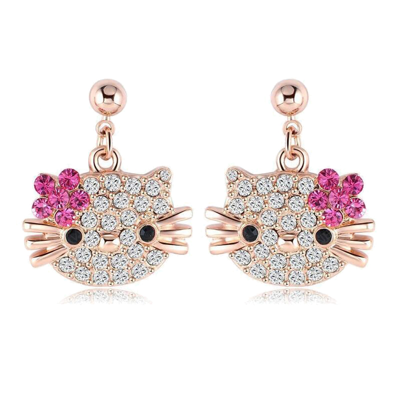 Lovely Kitty Stud Earring for Girls Rose Gold Plate Austrian Crystal Cat Flower Earings With SWA Elements Brinco