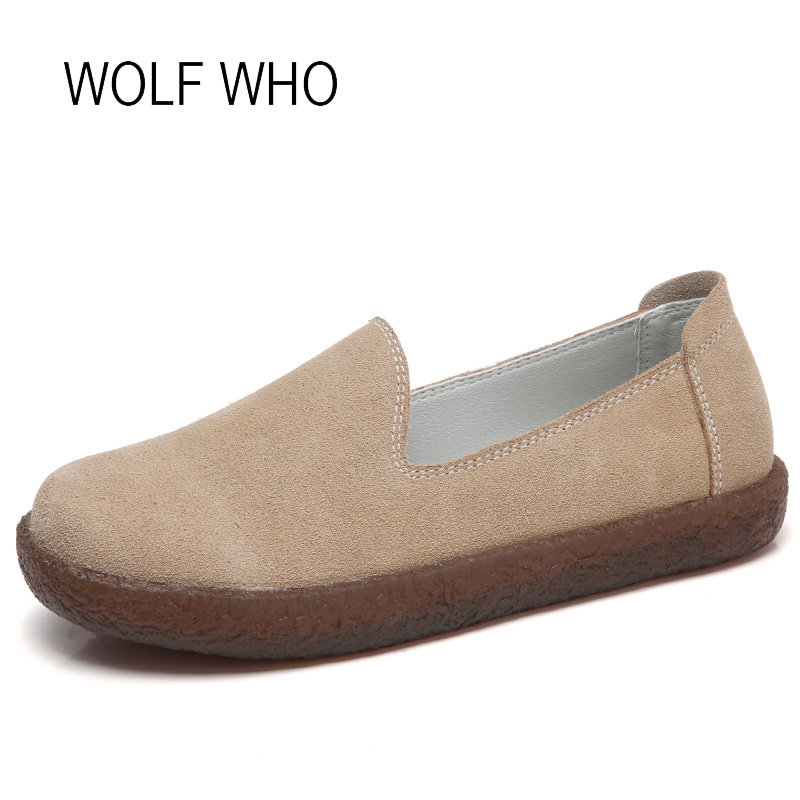 WOLF WHO 2018 Spirng Autumn Women Flats Leather Woman Shoes Slipony Loafers Shoes Tenis Femininos Casual Basket Femme H-177 wolf who genuine leather women shoes ladies spring krasovki slipony slip on loafers woman tenis feminino casual h 049