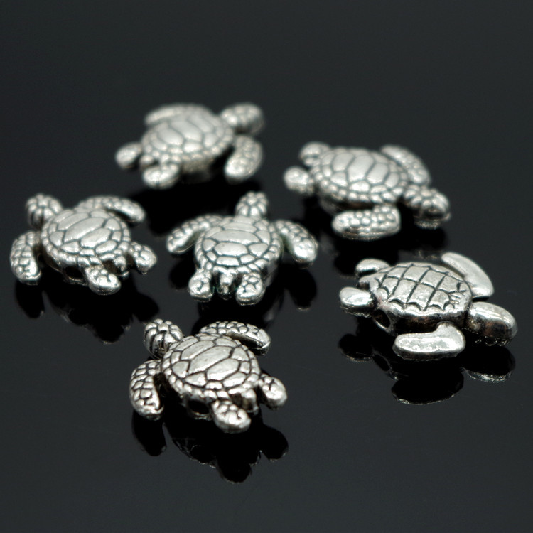 Turtle Antique Tibetan Silver spacer Beads charms Findings jewelry making 20pcs
