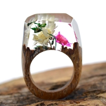 Real Flower Wooden Resin Rings Vintage Handmade Unique World Inside Secret Ring Luxury  Brand Jewelry Women Men Gift Anillos