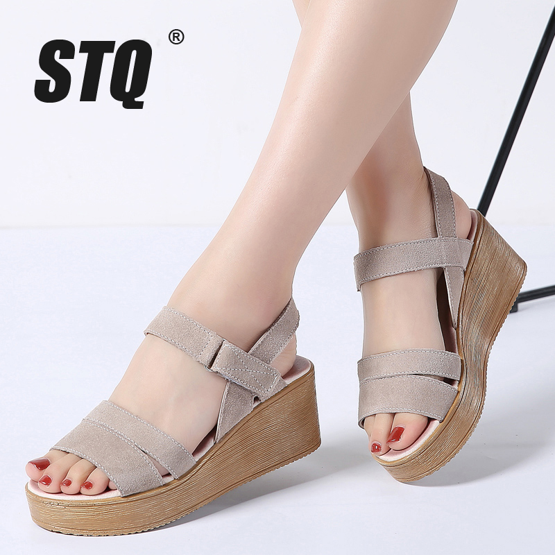 STQ Platform Sandals Leather Wedges Shoes Heel Flat Beach-Gladiator 8200 Suede