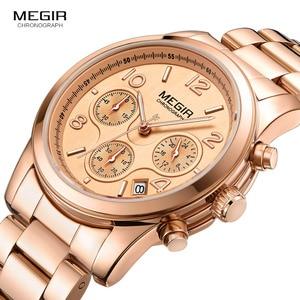 Image 4 - Megir 女性腕時計時計女性トップブランドの高級ローズゴールド腕時計レロジオ feminino часы женские 2057