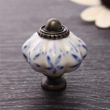 Tirador de cajón de calabaza de cerámica de 34mm manija de un solo agujero hoja azul pintado a mano armario vestidor tirador herrajes para muebles del hogar