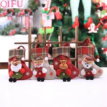 QIFU 2019 Christmas Gift Bags Decorations Tree Ornaments Stockings Santa Claus Cristmas Box