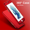 100pcs 360 Degree Full Body Covered Back Cover Hard PC Case with Tempered Glass Protector for iPhone 7 Plus 6 6S 5 5S SE