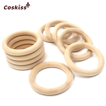 25mm 0 98 20pcs Nature Organic Infant Teething Toy Accessories NecklaceWooden Ring Teether Montessori Baby Toy