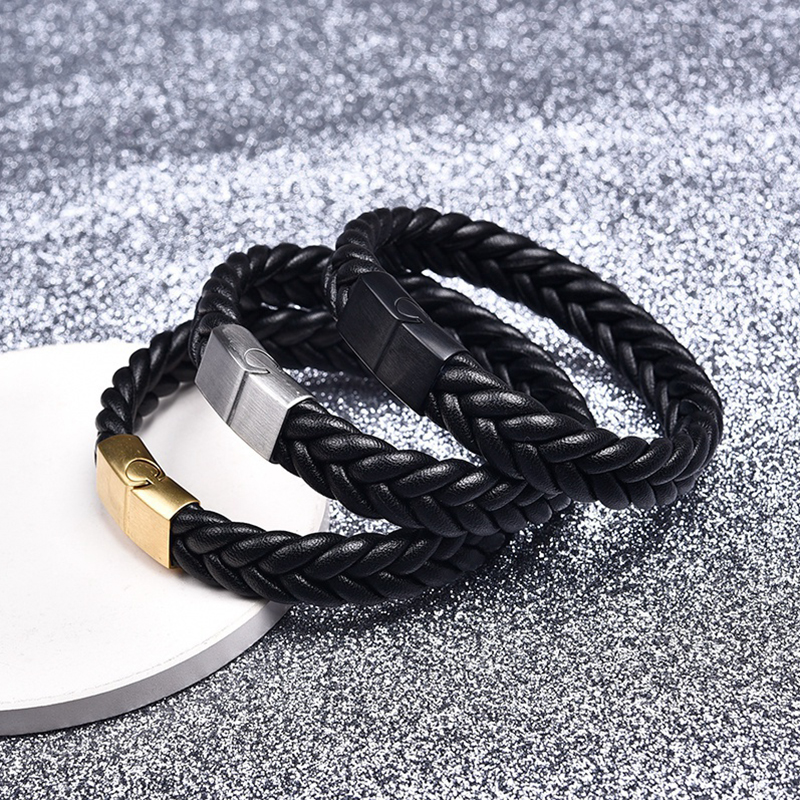 Jiayiqi Fashion Braided Leather Bracelets Gold Stainless Steel Clasp Bracelets Bangles Black/Brown Rope Chain Punk Wristband
